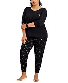 Plus Size Srunchie & Pajamas 3pc Set, Created for Macy's