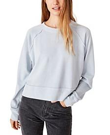 Aria Raw Edge Raglan Crew Sweatshirt