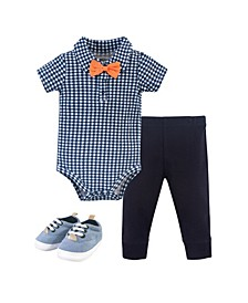 Baby Boys Bodysuit, Pant and Shoe Set