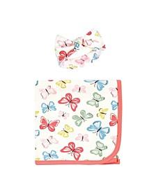 Baby Girls Swaddle Blanket and Headband Set