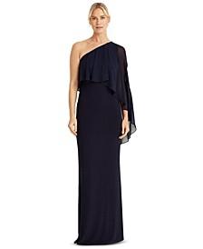 Cape-Overlay Asymmetric Gown