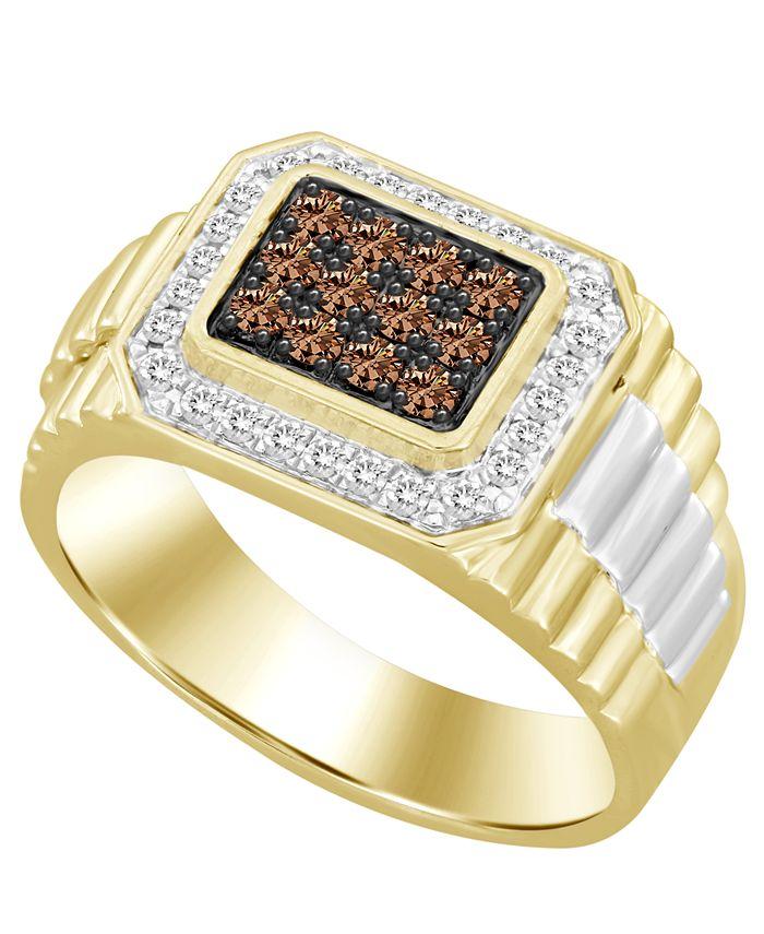 Macy's - Men's Brown & White Diamond (1/2 ct. t.w.) Ring in 10k Yellow & White Gold