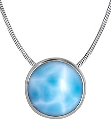 "Larimar Bezel 21"" Pendant Necklace in Sterling Silver"