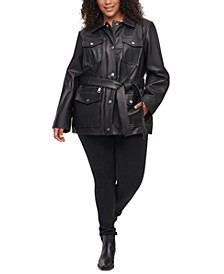 Plus Size Belted Leather Jacket
