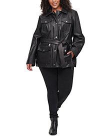 DKNY Plus Size Belted Leather Jacket