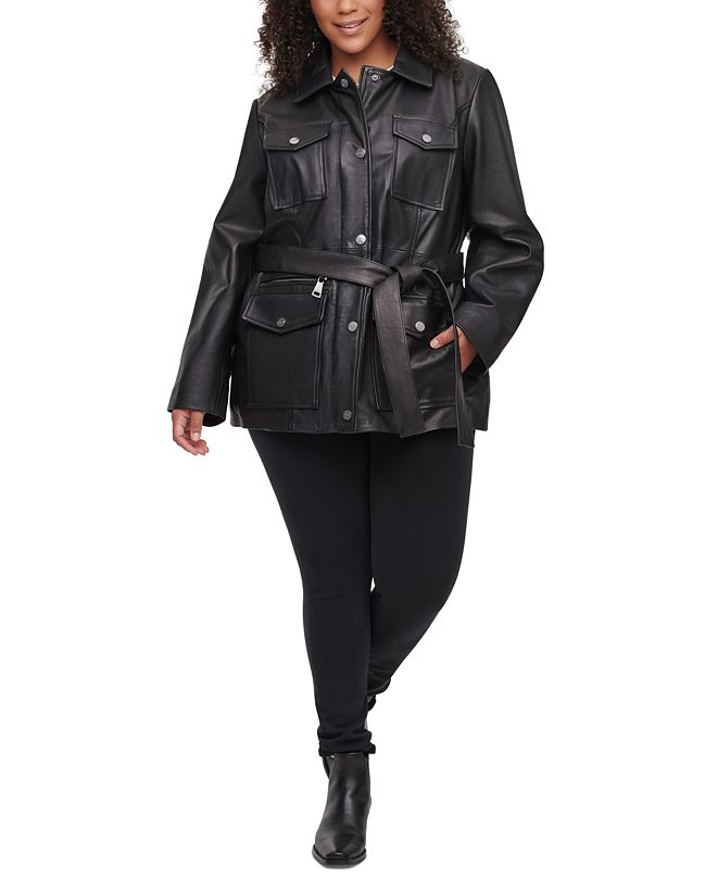 DKNY Plus Size Belted Leather Jacket
