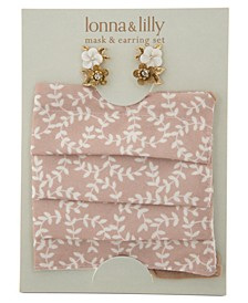2-Pc. Set Gold-Tone Flower Stud Earrings & Coordinating Face Mask