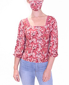Juniors' Floral-Print Top With Matching Mask