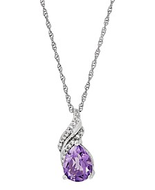 "Amethyst (1-3/8 ct. t.w.) & Diamond (1/10 ct. t.w.) 18"" Pendant Necklace in Sterling Silver"
