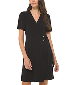 Plus Size O-Ring Faux-Wrap Dress