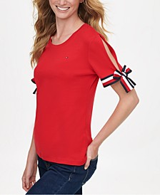 Cotton Split Tie-Sleeve Top, Created for Macy's