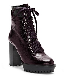 Women's Ermania Lace Up Lug Sole Combat Booties