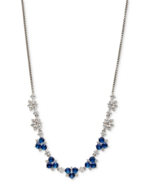"""Silver-Tone Cubic Zirconia & Stone Cluster 18"""" Collar Necklace"""