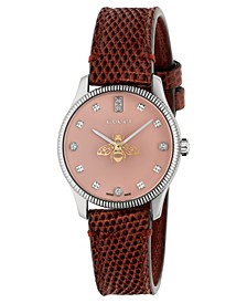 Women's Swiss G-Timeless Diamond (1/10 ct. t.w.) Brown Leather Strap Watch 29mm