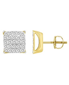 Men's Diamond (1-1/2 ct.t.w.) Earring Set in 10K Yellow Gold