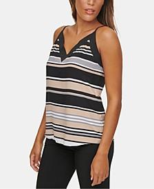 Striped V-Neck Cami Blouse