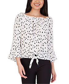 Juniors' Bell-Sleeve Printed Blouse