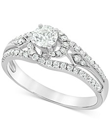 Diamond (3/4 ct. t.w.) Swirl Engagement Ring in 14k White Gold
