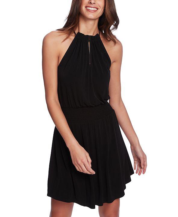 1.STATE Halter-Neck Smocked-Waist Dress