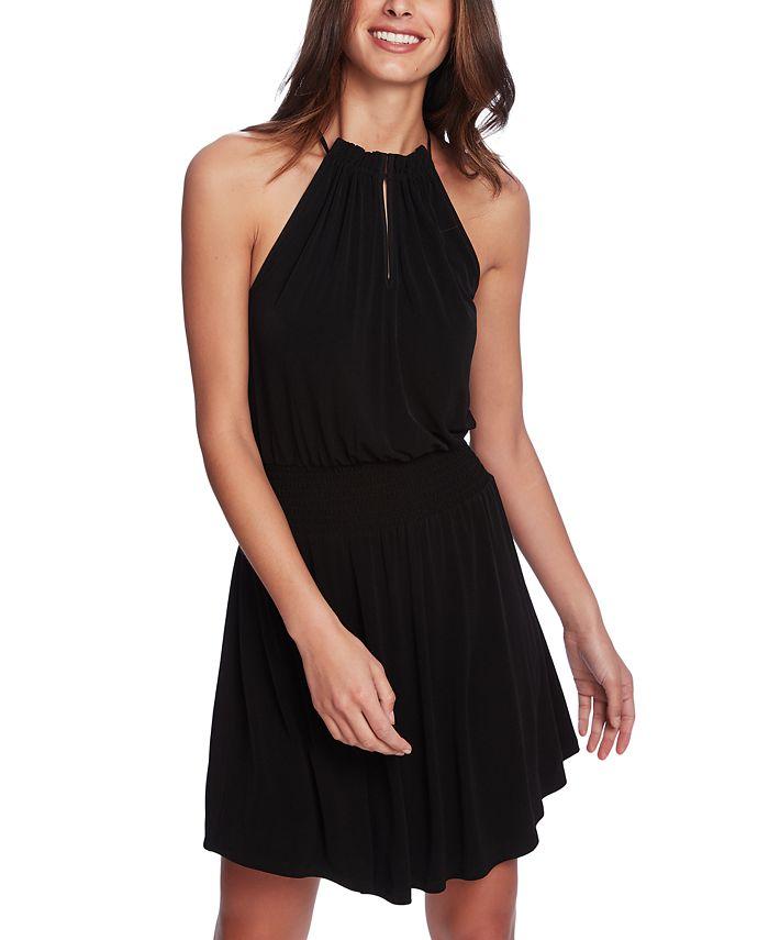 1.STATE - Halter-Neck Smocked-Waist Dress