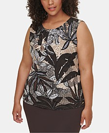 Plus Size Printed Pleat-Neck Top