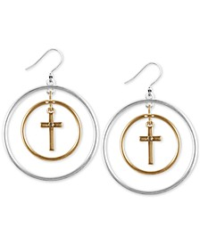 Two-Tone Cubic Zirconia Cross Orbital Drop Earrings