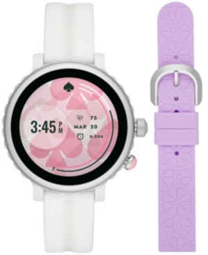 Kate-Spade-New-York-Womens-Sport-Scalloped-White-Silicone-Strap-Touchscreen-Smart-Watch-41mm-Gift-Set