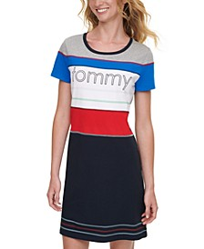 Colorblocked Logo-Print Dress