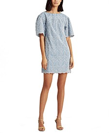 Chambray Eyelet Elbow-Sleeve Shift Dress