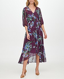 Balloon-Sleeve Maxi Dress