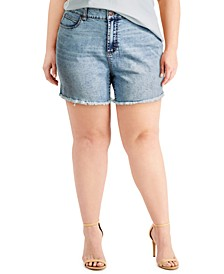 Plus Size Frayed High-Rise Denim Shorts