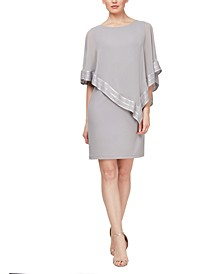 Metallic-Trim Capelet Sheath Dress