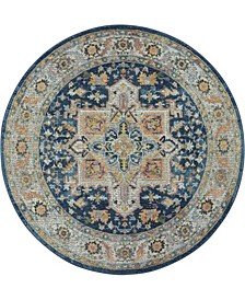 Ankara Global ANR11 Blue and Multi 4' Round Rug