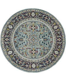 Ankara Global ANR14 Teal and Multi 4' Round Rug