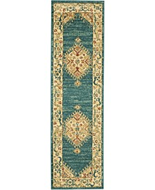 "Traditional Antique TRQ03 Teal and Blue 2'2"" x 7'6"" Runner Rug"