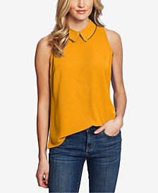 Solid Collared Woven Top