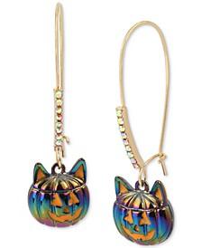 Gold-Tone Pavé Jack-o-Lantern Cat Linear Drop Earrings