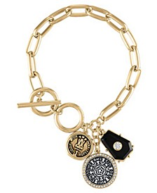 Two-Tone Coin Charm Toggle Bracelet