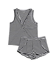 Ruffle Stripe Shorts Pajama Set