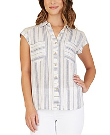 Juniors' Striped Button-Up Shirt
