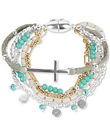 Two-Tone Cross Charm Beaded Multi-Row Magnetic Bracelet