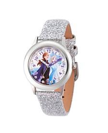 Disney Frozen 2 Elsa, Anna Girls' Stainless Steel Time Teacher Glitz Watch 32mm