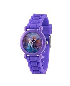 Disney Frozen 2 Elsa, Anna and Olaf Girls' Purple Plastic Time Teacher Watch 32mm