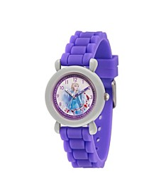 Disney Frozen 2 Elsa Girl's Gray Plastic Time Teacher Watch 32mm