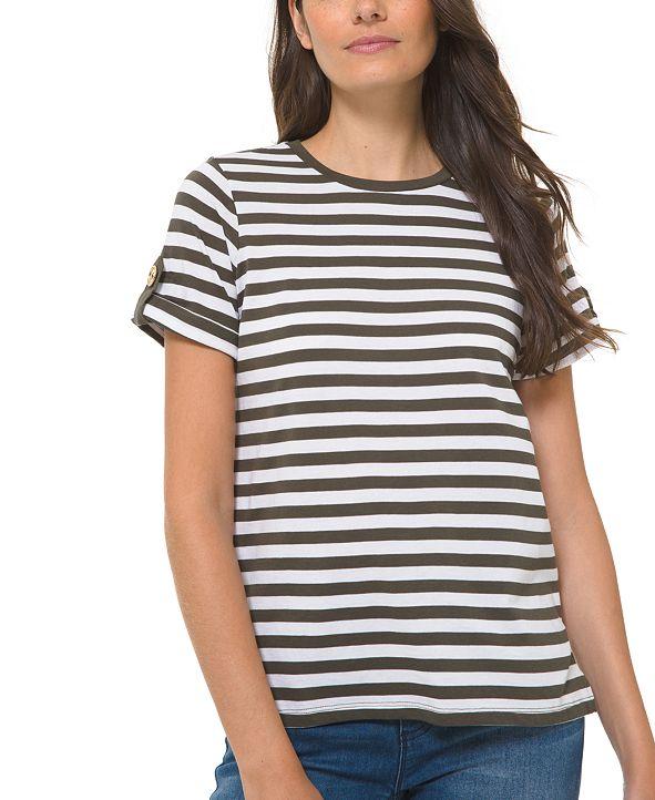 Michael Kors Striped Roll-Sleeve Shirt