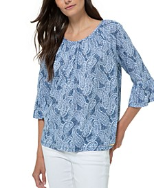 Flare-Sleeve Peasant Top