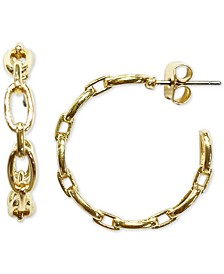 """INC Gold-Tone Small Chain Link Hoop Earrings, 1"""", Created for Macy's"""