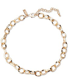 "INC Gold-Tone Cable Chain-Link Collar Necklace, 17"" + 3"" extender, Created for Macy's"