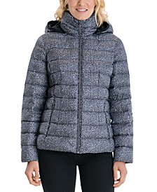 Petite Leopard Hooded Packable Puffer Coat, Created for Macy's