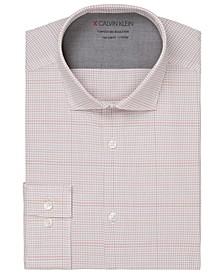 Men's Extra-Slim Fit Non-Iron Performance Stretch Temperature Regulation Check Dress Shirt